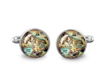 Neverland Map Cuff Links Peter Pan Cuff Links 16mm Cufflinks Gift for Men Groomsmen Novelty Cuff links Fandom Jewelry