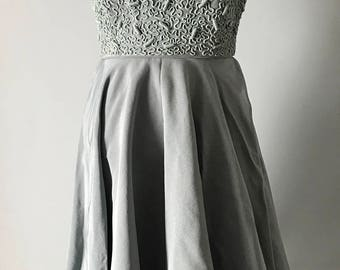 Custom-Made Vintage 1950's Sea Foam Green Dress with Full Skirt and Fitted Enbelliahef Bodice, Size XS.