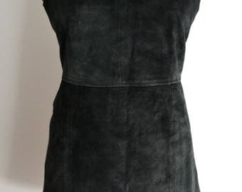 Vintage Black Suede Pinafore Dress Medium