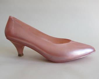 JELLY SHOES plastic Pink mother of Pearl 1980 1990 Barbie Shoes 39 Vintage shoes