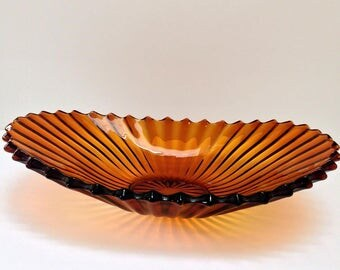 Sowerby and co. amber glass centrepiece fluted bowl. Made in Gateshead