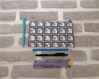 Periodic table pencil case, table of elements, back to school, science teacher, gift for her, gift for him, birthday gift, chemistry student