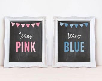"Team Pink Team Blue 8""x10"" Printable Party Sign Set || Gender Reveal Party Decorations || Gender Reveal Chalkboard Signs (DIGITAL PRODUCT)"