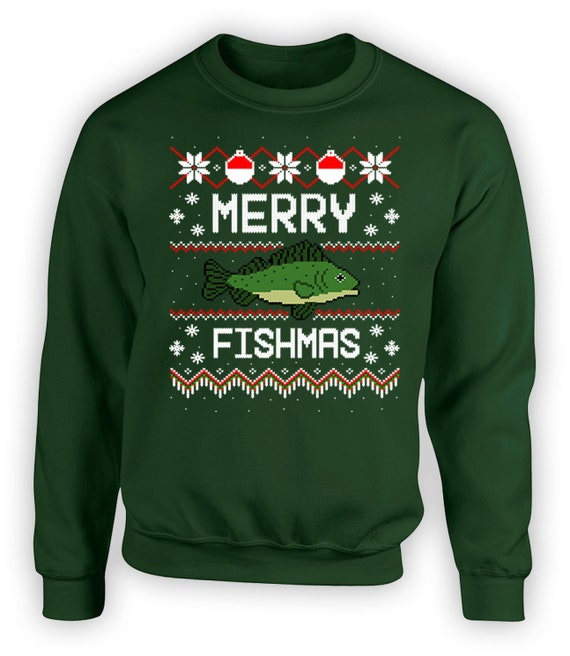 Funny xmas sweater ugly christmas fishing gifts by for Fishing christmas sweater