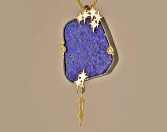 Lapis lazuli pendant stars and diamonds