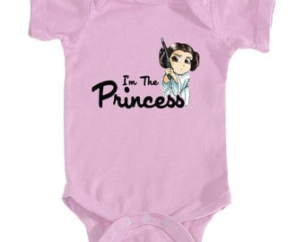 I'm The Princess baby bodysuit, Princess Leia baby girl onesie, Infant Bodysuit Rabbit Skins 4400 for your sweet baby girl