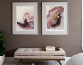 Print Art Pink Watercolor Abstract Print Watercolor  Wall Art Watercolor Print On Canvas Abstract Art Watercolor painting by Julia Kotenko
