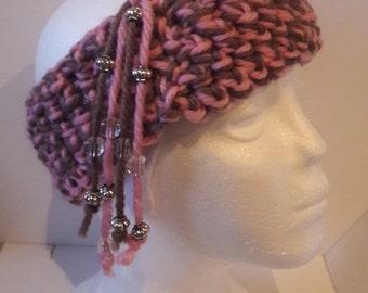 Boho Crochet headband Pink Taupe color  Modern design Earmuff,  Winter warm cosy headband
