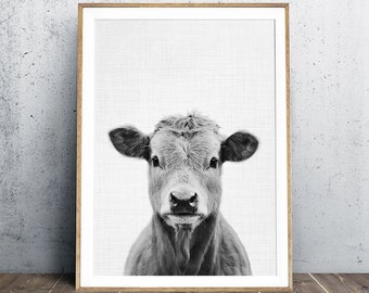 Cow Portrait, Farm Animal Print, Nursery Animal Prints, Animal Portrait, Nursery Decor, Cow Print, Digital Print, Instant Download