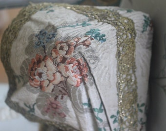bonnet or cap 18th century silk brocade