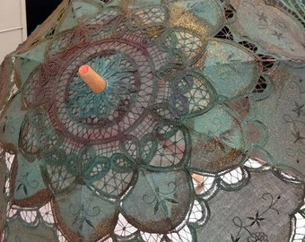 hand painted lace parasol steampunk