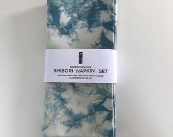 Constellation shibori napkin set (4) - Myrobalan and indigo natural dyed - large napkins - quality cotton napkins - serviettes FREE SHIPPING