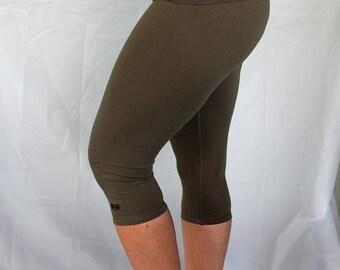 Sage 3/4 Length Yoga Pants/Yoga/Green Yoga Tights/Yoga Pants/Cotton Yoga Clothes/Capri Yoga Tights/Natural Fiber Yoga Clothes/Yoga/Yoga/Yoga