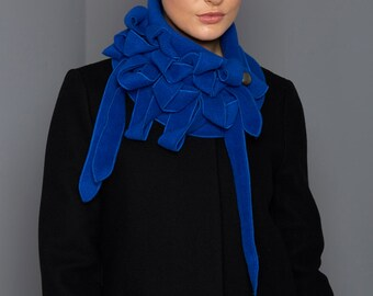 Ellie - Royal Blue Soft Fleece Scarf, Warm and Cosy, Winter Scarf, Button and Go