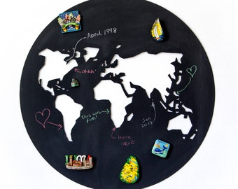 Magnetic chalk board world map notice board, map themed, magnetic chalk board, kitchen chalk board, home office decor, perfect gift