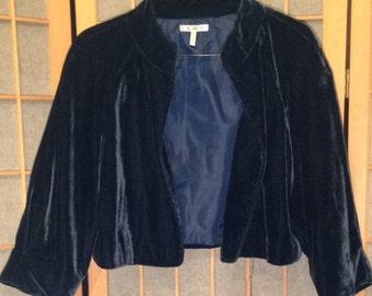 Vintage Blue Velvet Cropped Opera Jacket
