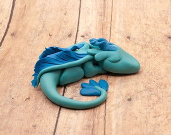 Sleeping Sky Dragon Figurine, Polymer Clay Dragon Sculpture, Blue Dragon Figure, Dragon Trinket, Magical Creature, Miniature Dragon OOAK