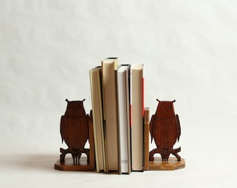 Vintage, Pair of Owl Shaped Wooden Bookends, Hand Carved