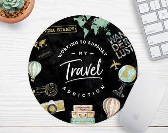 Travel Mouse Pad Coworker Gift Gold Foil Mouse Pad Travel Gifts Office Decor Desk Accessories Chic Gift Gift for Best friend Watercolor
