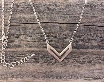 Matte silver chevron necklace