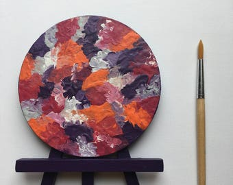 Original Art, Miniature Art, Mini Painting, Abstract Painting, Abstract Art, Pink & Purple Art, Original Painting, Round Art