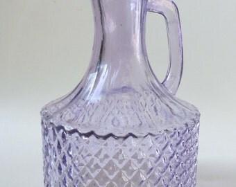 Pretty Vintage Lilac  Diamond Pattern Pressed Glass Small Jug, Cruet