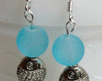 EARRINGS (Drop) Frosted Sea Blue Glass 8MM