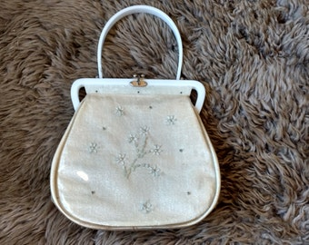 Vintage Cream Colored Purse with Plastic Overlay