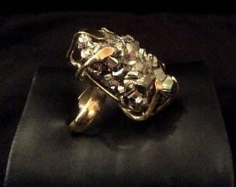 Bronze Pyrite Stone  Ring