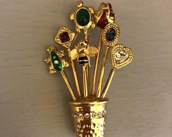 Vintage Carolee Stickpin Thimble Brooch