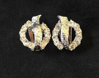 Vintage Clip Earrings, Silver Tone, Rhinestones