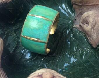 Patinated NuGold Foldformed Cuff Bracelet Modern Metal Artisan Handmade Metal Jewelry 21st Anniversary Gift