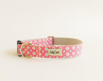 Trendy dog collar floral Pink dog collar for girl Designer dog collar for medium dogs Girly dog collar for large dogs gift Small dog collar
