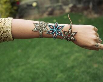 Macrame Peruvian Jungle Colorful Gipsy Flower of Life Mandala Bracelet Wearable Art