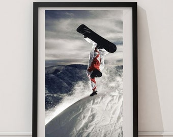 LARGE Snowboard Poster / Snowboarding Poster / Snowboard Print / Snowboard / Snowboarding / Snow Boarding / Snow Board Aerial Poster