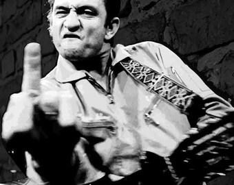 LARGE SIZE Johnny Cash Middle Finger Print, Johnny Cash Poster / Big Poster / Big Print / Live at San Quentin / Middle Finger