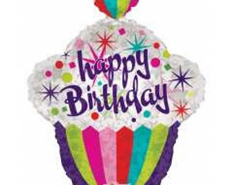Happy Birthday Cupcake Balloon- 22 inch Foil Balloon- Birthday Party Decorations