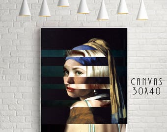 """Vermeer's """"Girl with a Pearl Earring"""" & Grace Kelly - Original Collage Artwork available in Poster and Canvas."""