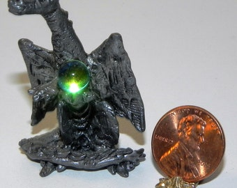 Miniature Dragon Figure with Gazing Ball Collectible Fantasy Gift Pewter