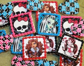 Monster High Cookies, Monster High, Skull Cookies, Girls Birthday, Sugar Skull, Custom Cookies