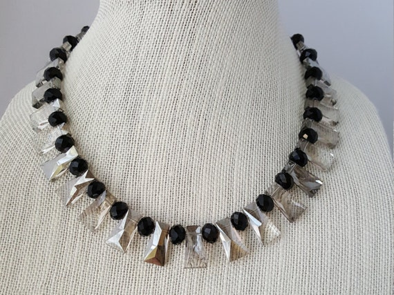 Smoky grey and black art deco style necklace