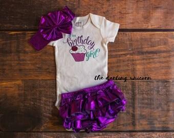 I'm the Birthday girl bodysuit, baby girl bodysuit, baby girl outfit, purple bloomers, photo outfit, 1st birthday outfit, first birthday