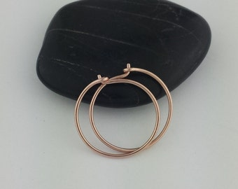 "5/8"" to 3"" Rose Gold Hoop Earrings, Solid 14k Rose Gold Hoop Earrings, Solid Gold Hoops, Hammered Hoops, Round Rose Gold Hoops"