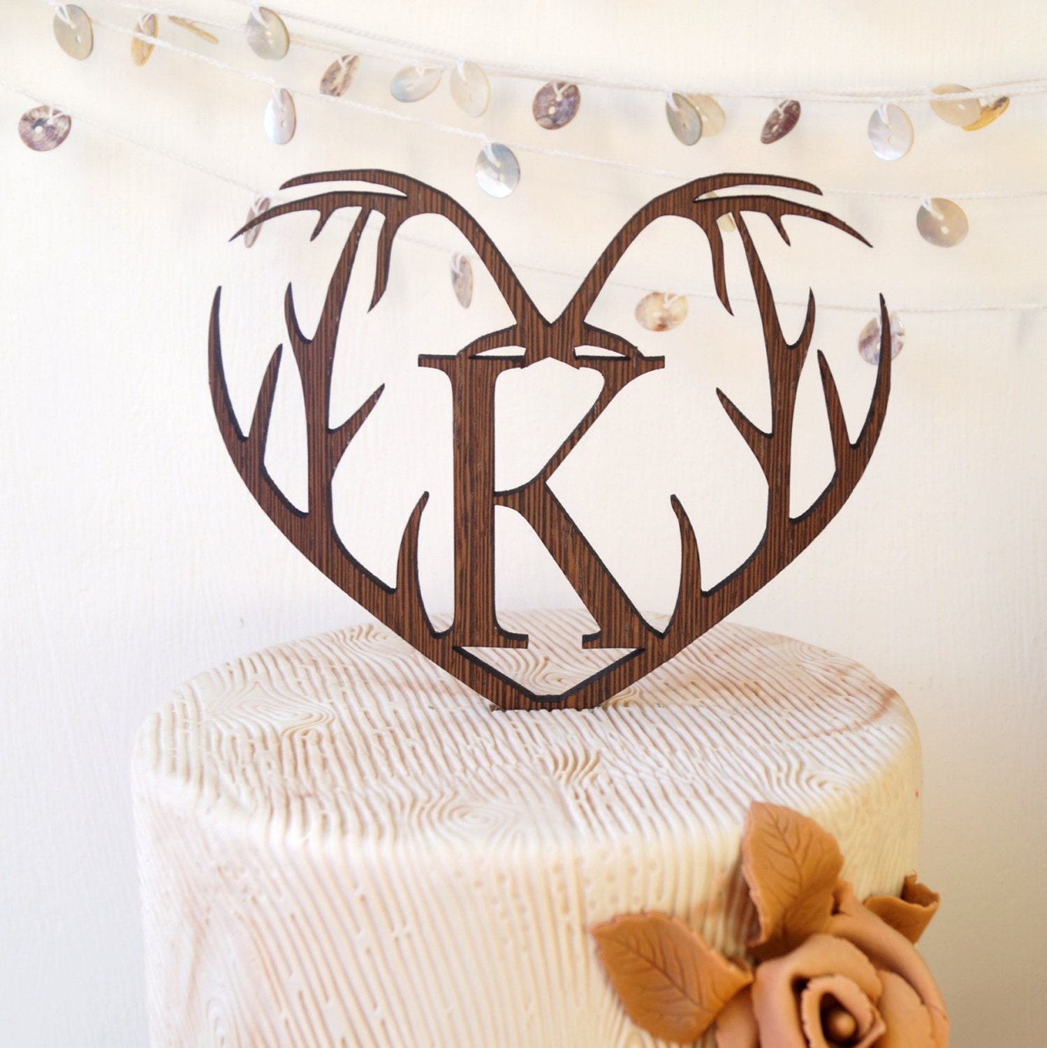 Monogram cake topper personalized wedding cake topper rustic