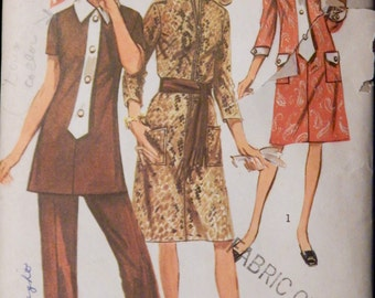 Vintage Misses' and Women's Dress or Tunic and Pants Simplicity 9170 Retro 1970's Size 16