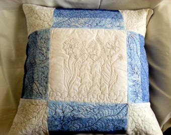 Handcrafted, Quilted Throw Pillow Cover, Home Decor