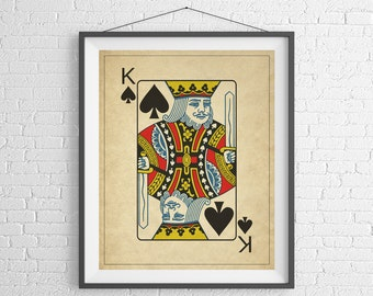 King of Spades, Playing Card Art, Game Room Decor, Game Room Art, Poker Gifts, Gambling Gift, Office Wall Art, Man Cave Art, Bar Decor