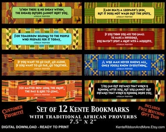 DIY - Printable Kente Bookmarks with Traditional African Proverbs - 12 Different Kente Cloth Backgrounds - Matching Gift Tags - PNG Download