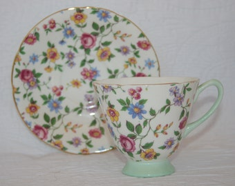 Crownford Bone China Floral Teacup and Saucer