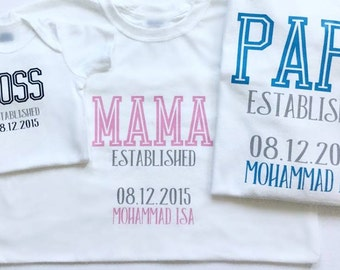 Family Tshirts, baby, mom, dad, brother, sister, sibling, cousins, family reunion, cute outfit, celebrate, relationship, established, birth